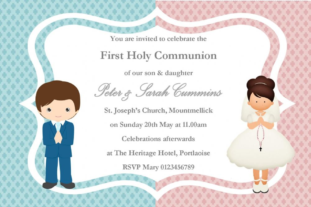 personalised first communion invitations girl boy twins new design 1